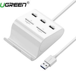 USB ჰაბი + ბარათის წამკითხველი UGREEN US156 (30344) UGREEN USB 3.0 3 Ports Hub + Card Reader with Cradle 1miMart.ge