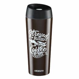 თერმოსი ARDESTO TRAVEL MUG   COFFEE TIME CUP  450 ML, BROWN, S/SiMart.ge