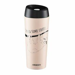 თერმოსი ARDESTO TRAVEL MUG   COFFEE TIME BRADYPUS 450 ML, BEIGE,  S/SiMart.ge
