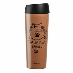 თერმოსი ARDESTO TRAVEL MUG   COFFEE TIME CAT 450 ML, MOCHA, S/SiMart.ge